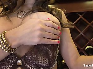 huge-boobed black-haired Taylor Vixen taunts the camera