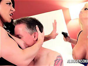 Alura Jenson milf three way pulverize with Brandi May