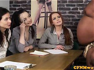 audition CFNM gal agent draining ebony spear