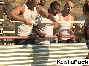 molten babe Keisha is ready for her group sex