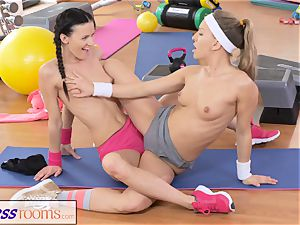 FitnessRooms 2 lesbo Gym fucking partners exercise