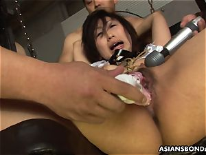 dudes wreck the babe's wet roped up vulva