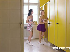 Private.com - all girl threesome in the rest room