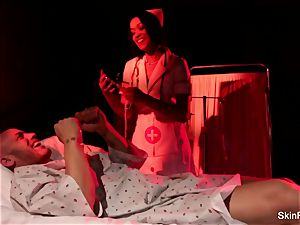 Behind the sequences with cool nurse skin Diamond