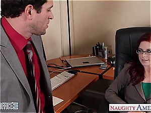 sandy-haired ultra-cutie in glasses Penny Pax drill in the office