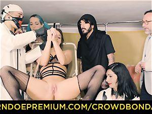 CROWD bondage enslaved Amirah Adara first-ever time sadism & masochism