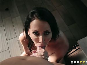 crazy youth drills his wonderful giant buxomy stepmother Reagan Foxx in the shower room