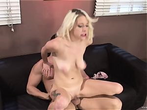 Randy Kissy Kapri rides her vulva on this massive penis