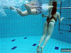 super-steamy Russian femmes swimming in the pool