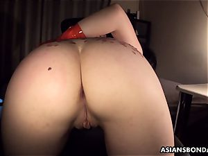 Pouring super-fucking-hot candle and oil on her donk as shes pummeled