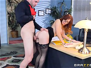Dani Jensen playing with schlong in the office