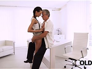 OLD4K. ideal assistant tempts aged stud to get another promotion
