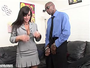 interracial porno with mature sweetheart Lisa Ann with hefty boobies