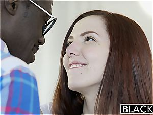 BLACKED Nerdy Ember Stone Takes Her first ebony penis