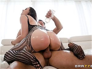 greasing up the slit of Chanel Preston and opening up her out