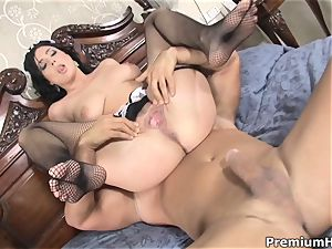 Maid Stracy Stone flashes her bang skills