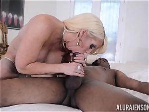 interracial cootchie plunged Alura Jenson with big dark-hued schlong
