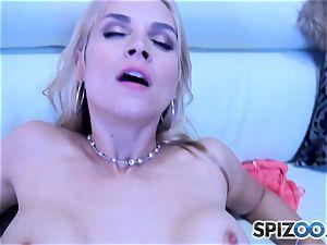 Sarah Vandella inhaling and pounding a huge pecker