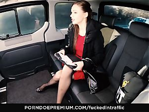romped IN TRAFFIC Tina Kay footjob in the backseat