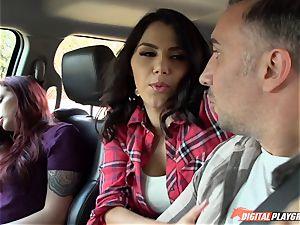 Valentina Nappi porked on the road