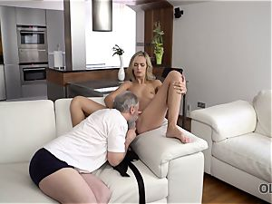 OLD4K. sweetie takes part in sultry fuck-a-thon with wonderful old daddy