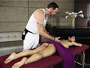 smallish Gina Valentina gets greased up and kneaded
