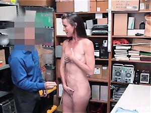 Sofie Marie splooged ballsack deep by naughty mall cop