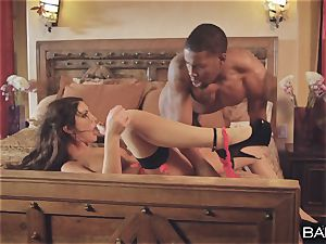 bi-racial snatch striking with August Ames