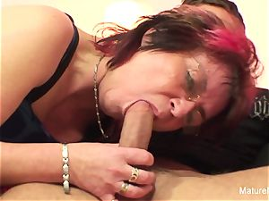 Punky pierced granny enjoys to blow and plow