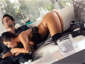 beautiful Eva Lovia is instructing her beau some manners before the party