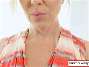FirstClass pov - enjoy Julia Ann sucking a large ginormous manstick