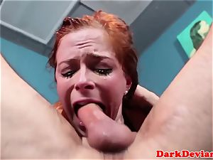 red-haired sexslave roughly sucked nut deep