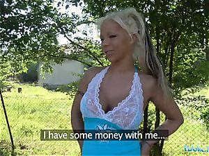 Public Agent red-hot blonde wife Barbie Sins humps Stranger