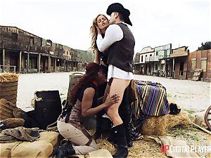 dark-hued cowgirl Jasmine Webb and blonde Jessa Rhodes takes cowboy chisel