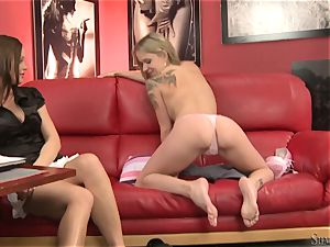 red-hot Sylvia Saint watches this babe unwrap off
