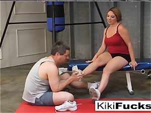 Locker room foot adore and foot job with Kiki Daire